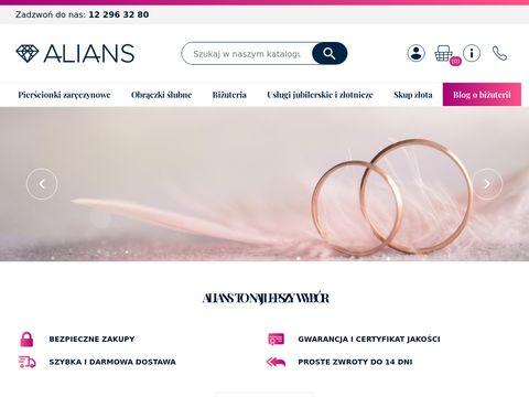 Obraczki.net.pl ślubne sklep jubilerski Alians