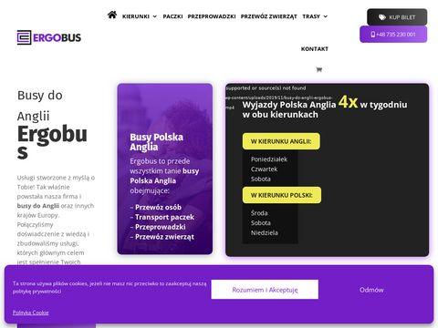 Ergobus.eu przewóz osób do Anglii przez Holandię