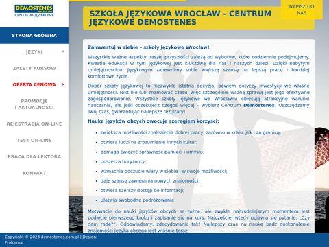 Demostenes.com.pl szkoła językowa Wrocław